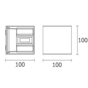 ขนาดไฟติดผนังภายนอก-LED-SAM-2x3W