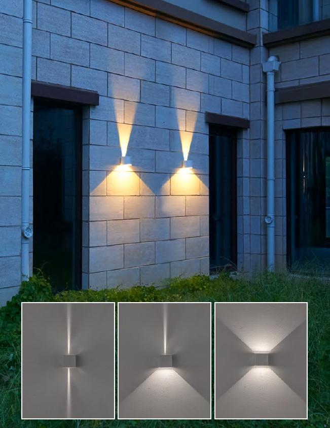ไฟติดผนังภายนอก ส่องขึ้นลง ปรับมุมแสงได้ LED 2x3W