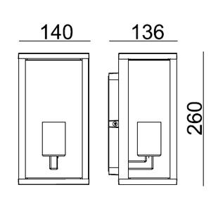 Drawing ไฟติดผนังภายนอก CAMEO E27