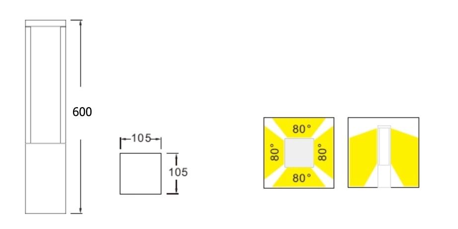 ขนาด-โคมไฟเสาสนาม-DALLTON-M-LED-10W