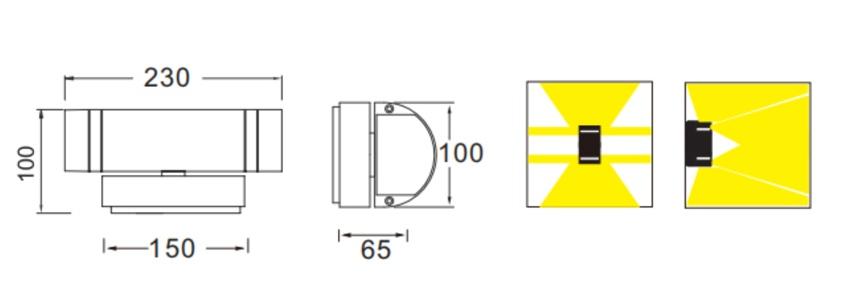 ขนาดโคมไฟติดผนังภายนอก FENIX-2 GU10
