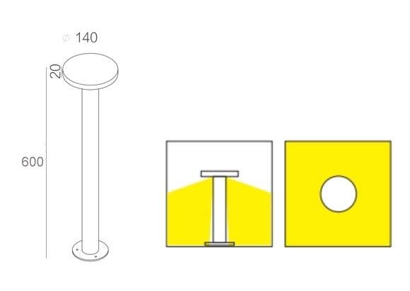 ขนาดโคมไฟเสาสนาม DAYSON LED-7W