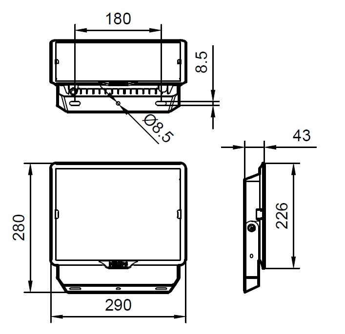 ขนาดโคม Philips สปอร์ตไลท์ แอลอีดี ฟิลิปส์ Essential SmartBright G3 LED Floodlight BVP150 100W