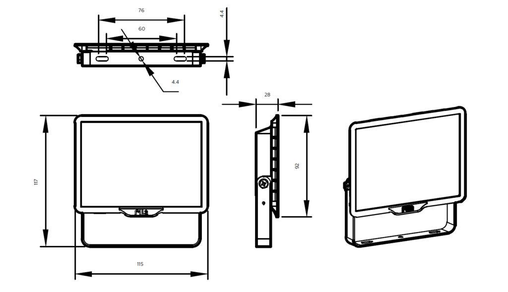 ขนาดโคม Philips สปอร์ตไลท์ แอลอีดี ฟิลิปส์ Essential SmartBright G3 LED Floodlight BVP150 10W