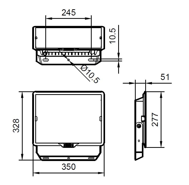 ขนาดโคม Philips สปอร์ตไลท์ แอลอีดี ฟิลิปส์ Essential SmartBright G3 LED Floodlight BVP150 150W