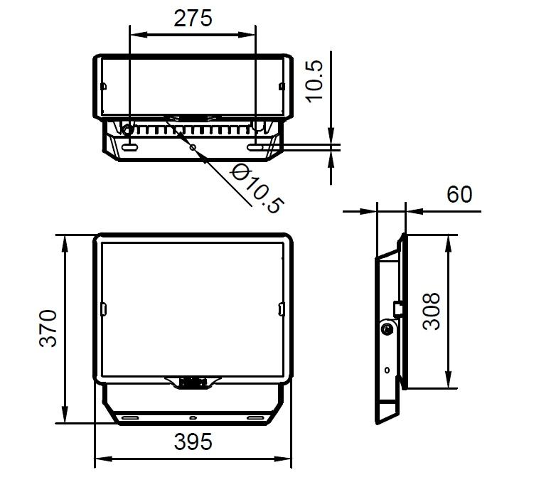ขนาดโคม Philips สปอร์ตไลท์ แอลอีดี ฟิลิปส์ Essential SmartBright G3 LED Floodlight BVP150 200W