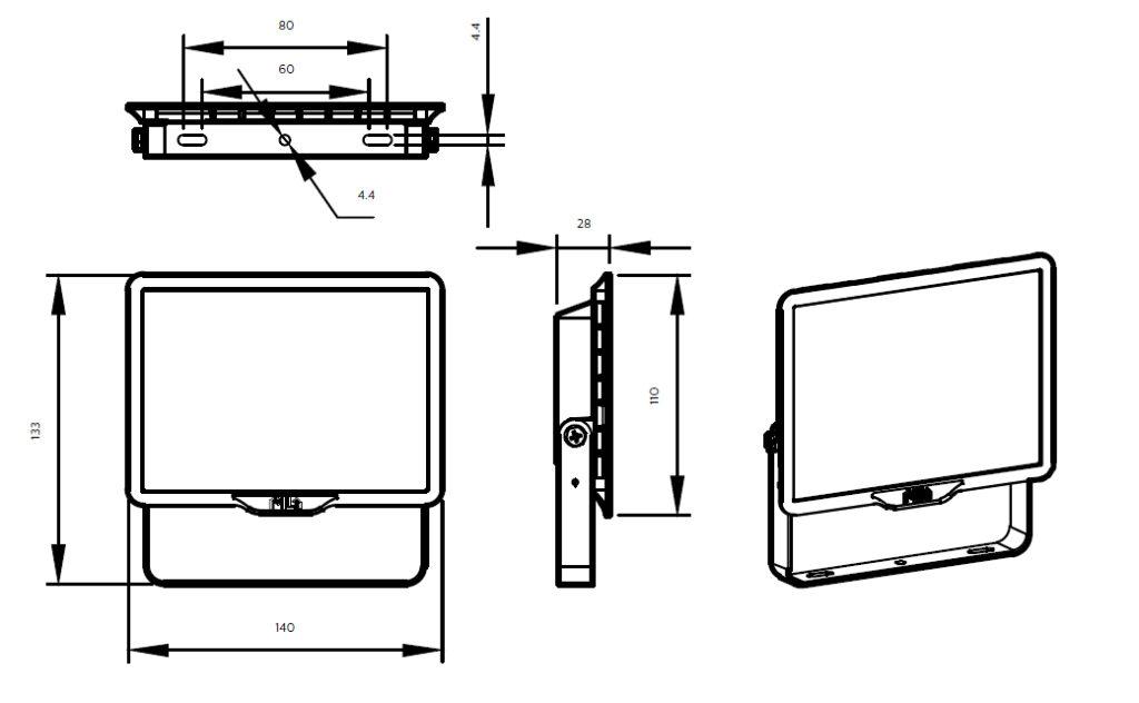 ขนาดโคม Philips สปอร์ตไลท์ แอลอีดี ฟิลิปส์ Essential SmartBright G3 LED Floodlight BVP150 20W