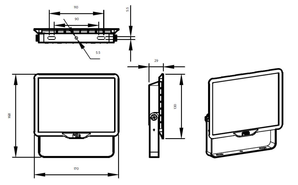 ขนาดโคม Philips สปอร์ตไลท์ แอลอีดี ฟิลิปส์ Essential SmartBright G3 LED Floodlight BVP150 30W