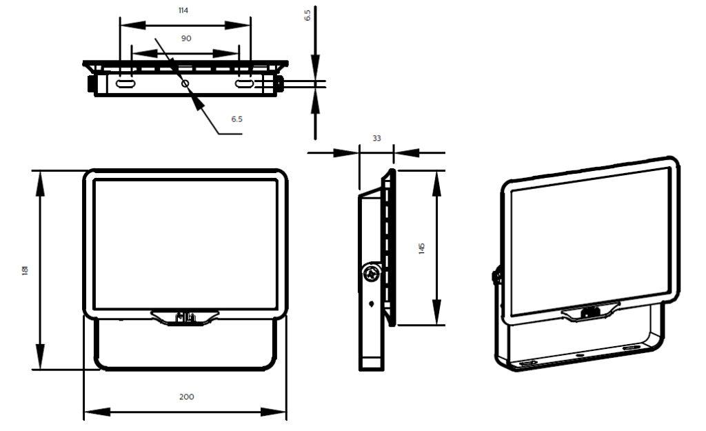 ขนาดโคม Philips สปอร์ตไลท์ แอลอีดี ฟิลิปส์ Essential SmartBright G3 LED Floodlight BVP150 50W