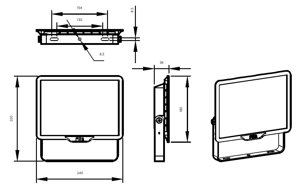 ขนาดโคม Philips สปอร์ตไลท์ แอลอีดี ฟิลิปส์ Essential SmartBright G3 LED Floodlight BVP150 70W