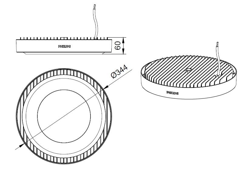 ขนาดโคม Philips โคมไฟไฮเบย์ แอลอีดี ฟิลิปส์ SmartBright Highbay G3 BY239 P LED200 - 190W