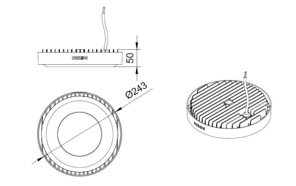 ขนาดโคม Philips โคมไฟไฮเบย์ แอลอีดี ฟิลิปส์ SmartBright Highbay G3 BY239P LED60 - 62W