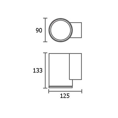 ขนาดไฟติดผนังภายนอก ALYN-R1 GU10
