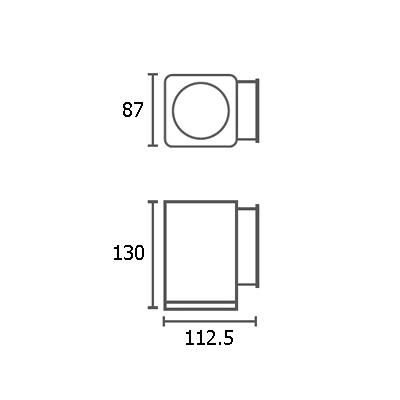 ขนาดไฟติดผนังภายนอก ALYN-S1 GU10